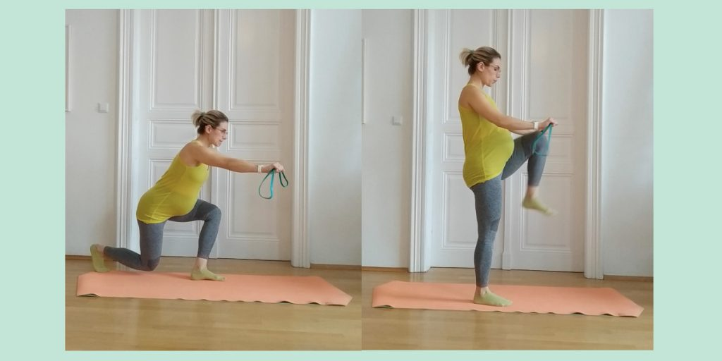 curtsy lunge - high knee - trudnoca vjezbe